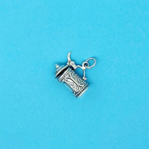 Genuine 925 Sterling Silver Beer Tankard With Opening Lid Charm Pendant